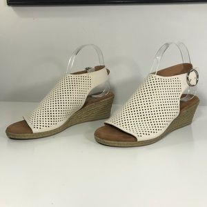 Franco Sarto White Cream Perforated Wedge sling